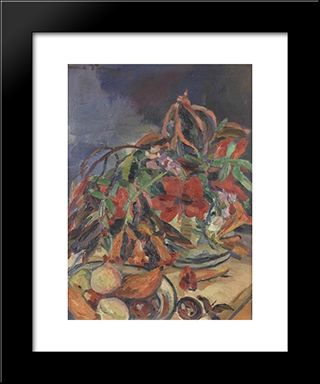 Still Life With Hibiscus, Angel'S Trumpets And Fruits: Modern Black Framed Art Print by Irma Stern