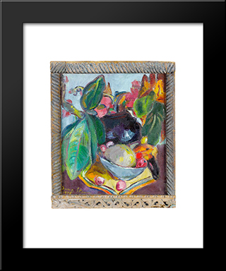 Still Life With Leaves, Fruit And Flowers: Modern Black Framed Art Print by Irma Stern