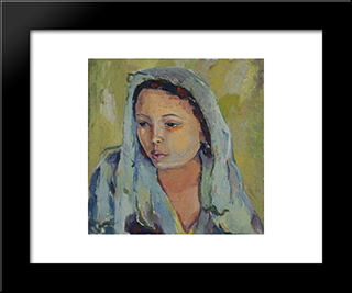 The Bride: Modern Black Framed Art Print by Irma Stern