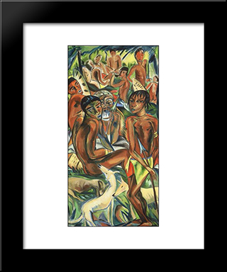 The Hunt: Modern Black Framed Art Print by Irma Stern