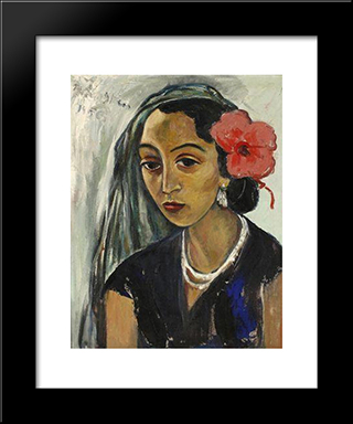Woman With A Hibiscus: Modern Black Framed Art Print by Irma Stern
