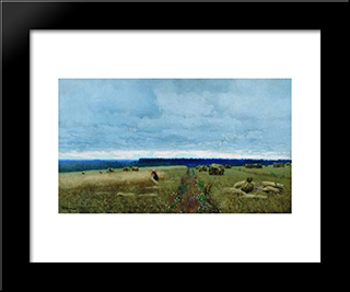 A Dull Day. Stubble.: Modern Black Framed Art Print by Isaac Levitan