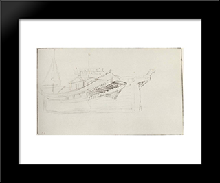 Aft Part Of Barge: Modern Black Framed Art Print by Isaac Levitan