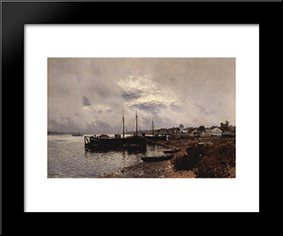 After The Rain. Plyos.: Modern Black Framed Art Print by Isaac Levitan