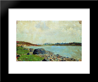 At Moscow-River: Modern Black Framed Art Print by Isaac Levitan