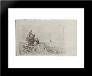 At The Field. Twilight.: Modern Black Framed Art Print by Isaac Levitan