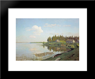 At The Lake (Tver Region): Modern Black Framed Art Print by Isaac Levitan