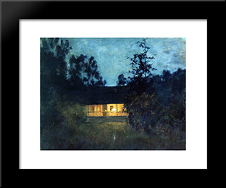 At The Summer House In Twilight: Modern Black Framed Art Print by Isaac Levitan