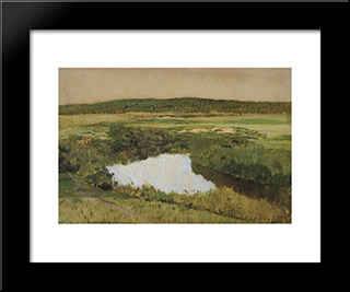 At Twilight. River Istra.: Modern Black Framed Art Print by Isaac Levitan