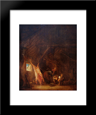 A Barn Interior With A Slaughtered Pig, Children Playing Beyond: Modern Black Framed Art Print by Isaac van Ostade