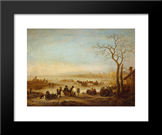 A Frozen Lake: Modern Black Framed Art Print by Isaac van Ostade