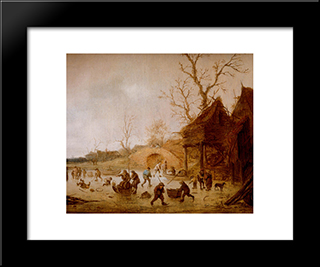 A Winter Landscape With Skaters, Children Playing Kolf And Figures With Sledges On The Ice Near A Bridge: Modern Black Framed Art Print by Isaac van Ostade