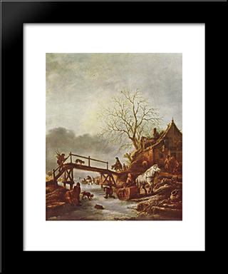 A Winter Scene: Modern Black Framed Art Print by Isaac van Ostade