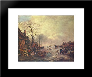 Amusement On The Ice: Modern Black Framed Art Print by Isaac van Ostade