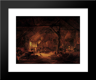 Barn Interior: Modern Black Framed Art Print by Isaac van Ostade