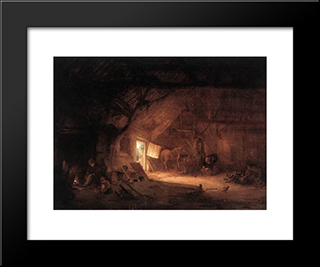 Farmhouse Interior: Modern Black Framed Art Print by Isaac van Ostade