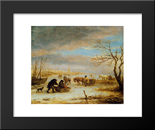 Frozen Ice Landscape With Carriages And Boats: Modern Black Framed Art Print by Isaac van Ostade
