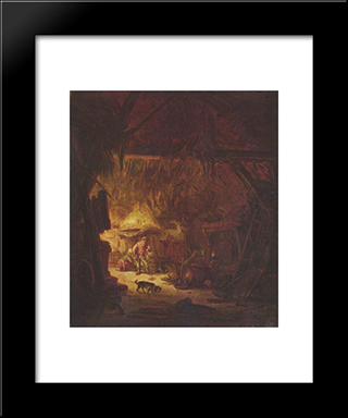 Interior Of A Peasant House: Modern Black Framed Art Print by Isaac van Ostade