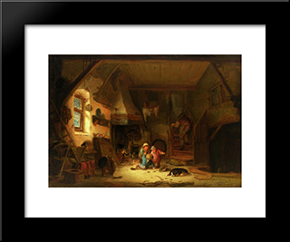 Interior With Children: Modern Black Framed Art Print by Isaac van Ostade
