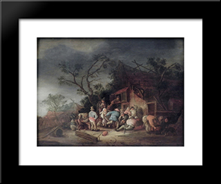 Tavern: Modern Black Framed Art Print by Isaac van Ostade
