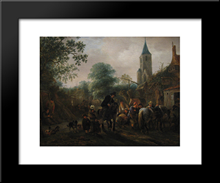The Halt At The Inn: Modern Black Framed Art Print by Isaac van Ostade