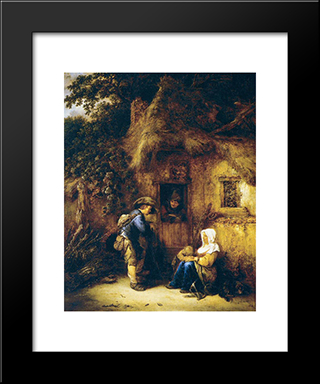 Traveller At A Cottage Door: Modern Black Framed Art Print by Isaac van Ostade