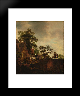 Travellers Halting At An Inn: Modern Black Framed Art Print by Isaac van Ostade