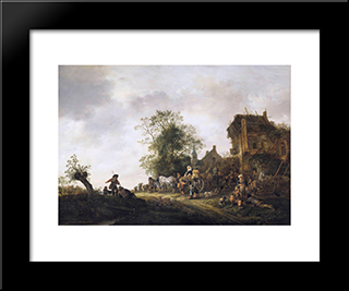 Travellers Outside An Inn: Modern Black Framed Art Print by Isaac van Ostade