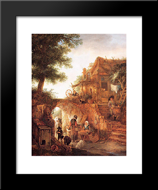 Woman Selling Fruit By A Cottage: Modern Black Framed Art Print by Isaac van Ostade