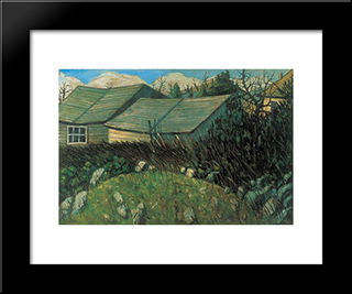 Backyard: Modern Black Framed Art Print by Istvan Nagy