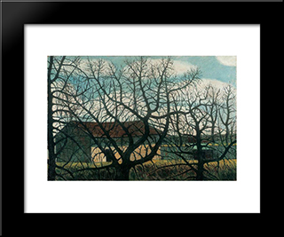 Bald Trees With Houses: Modern Black Framed Art Print by Istvan Nagy