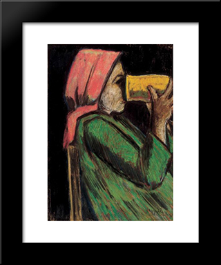 Drinking Girl: Modern Black Framed Art Print by Istvan Nagy