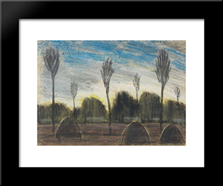 Landscape With Hayricks: Modern Black Framed Art Print by Istvan Nagy