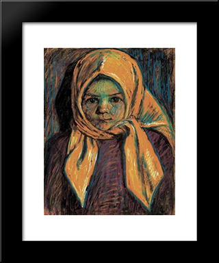 Little Girl With Yellow Babushka: Modern Black Framed Art Print by Istvan Nagy