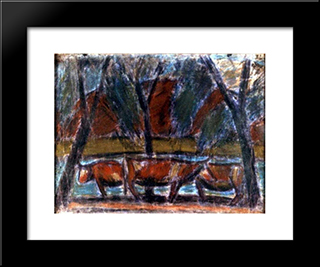 Resting Cows: Modern Black Framed Art Print by Istvan Nagy