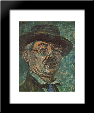 Self-Portrait: Modern Black Framed Art Print by Istvan Nagy