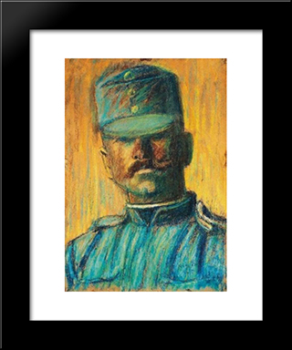 Soldier Head: Modern Black Framed Art Print by Istvan Nagy