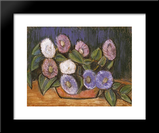 Still Life With Flowers: Modern Black Framed Art Print by Istvan Nagy