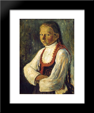 Szekely Girl: Modern Black Framed Art Print by Istvan Nagy