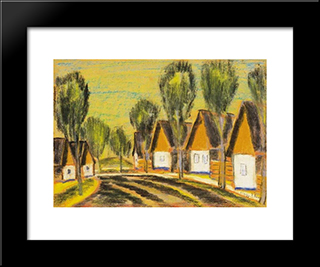Village-Row Of Houses: Modern Black Framed Art Print by Istvan Nagy