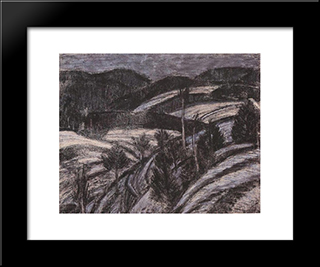 Winter Landscape: Modern Black Framed Art Print by Istvan Nagy