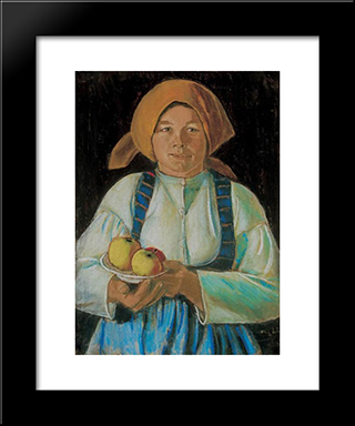 Young Wife Keeping Apples: Modern Black Framed Art Print by Istvan Nagy