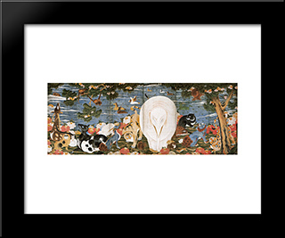 Birds, Animals, And Flowering Plants In Imaginary Scene: Modern Black Framed Art Print by Ito Jakuchu