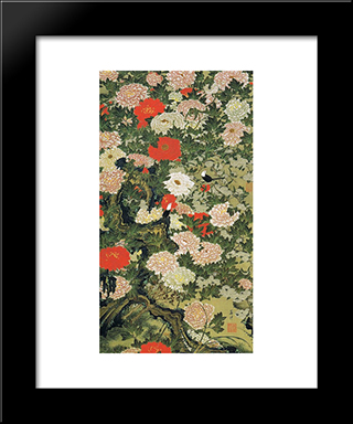 Botan Shoukinzu: Modern Black Framed Art Print by Ito Jakuchu