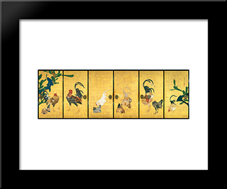 Cactus And Roosters: Modern Black Framed Art Print by Ito Jakuchu