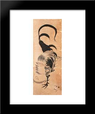 Chickens: Modern Black Framed Art Print by Ito Jakuchu
