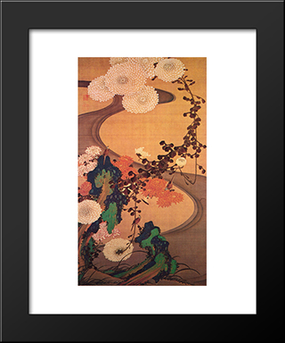 Chrysanthemums By A Stream, With Rocks: Modern Black Framed Art Print by Ito Jakuchu