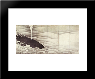 Elephant And Whale (Diptych): Modern Black Framed Art Print by Ito Jakuchu