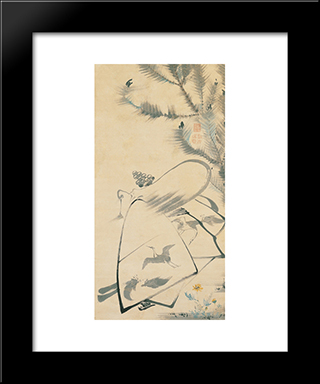 Fukurojin (Fukurokuju), The God Of Longevity And Wisdom: Modern Black Framed Art Print by Ito Jakuchu