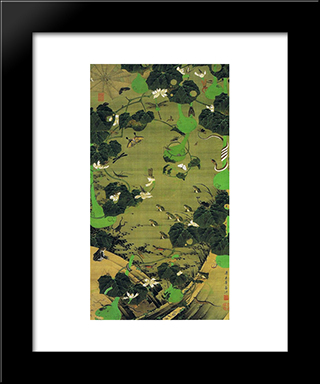 Insects By Pond Side: Modern Black Framed Art Print by Ito Jakuchu